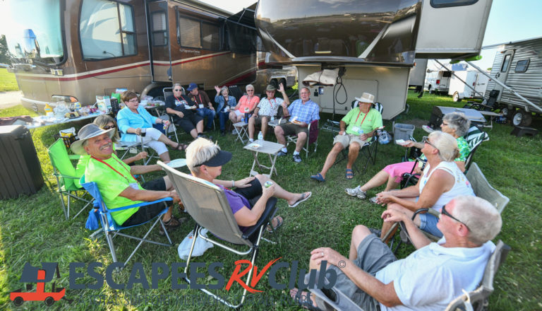 Escapees members gather for happy hour at the fairgrounds camping