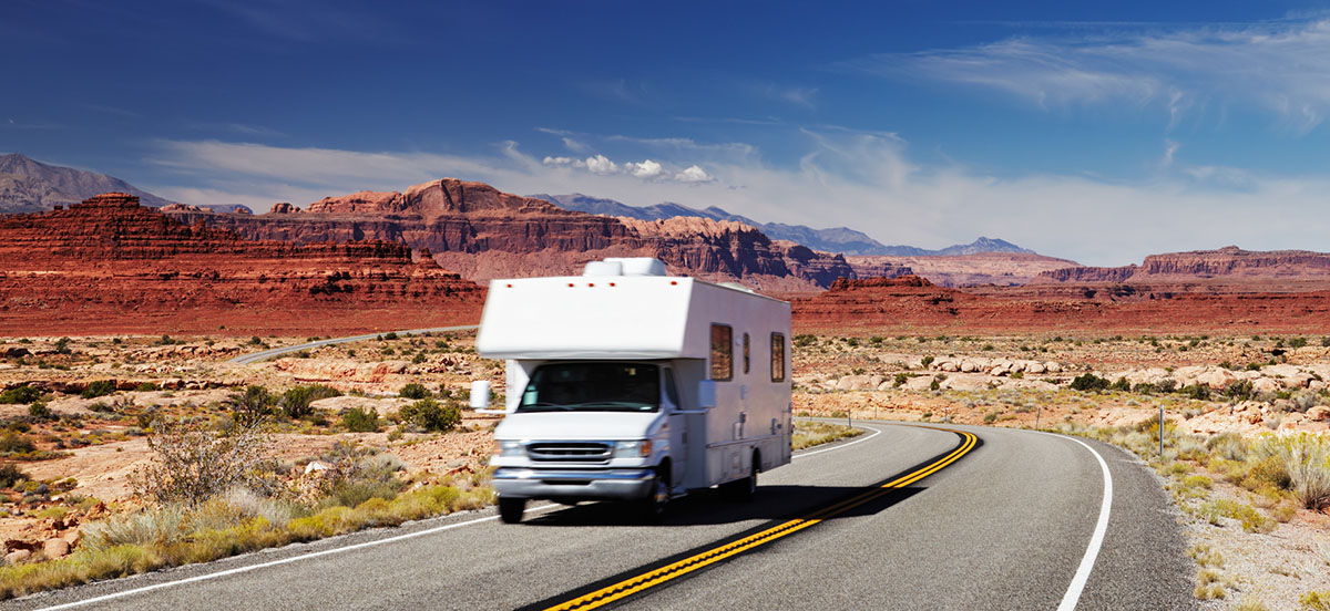 RV Camper on highway