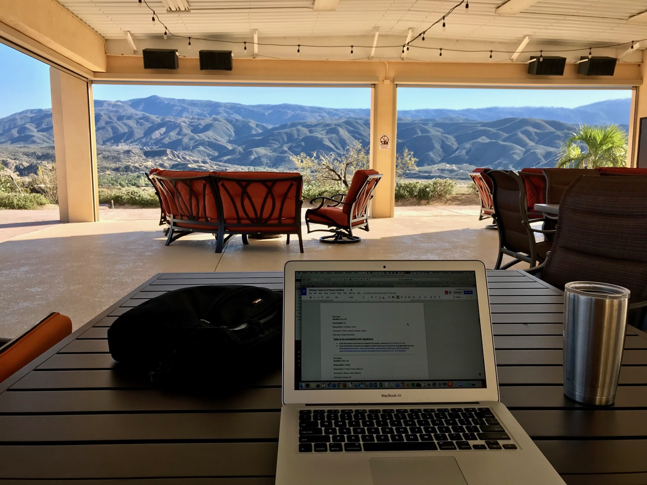 Working on the deck overlooking the mountains at Jojoba Hills SKP Co-Op, Aguanga, CA (DG photo)