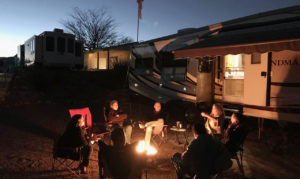 Xscapers around the campfire at SKP Saguaro Co-Op, Benson, AZ (D