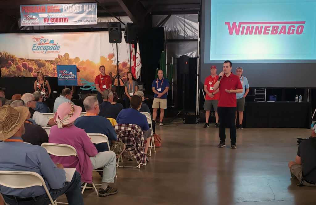 Nick Davis with Winnebago leads Ask The Manufacturer discussion at 2019 Escapade