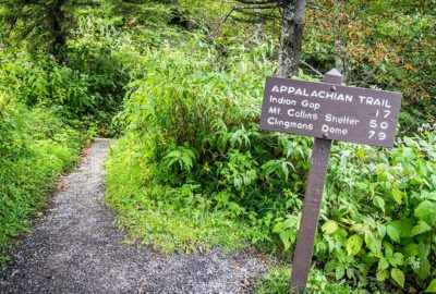 Appalachian Trail sign in Great Smoky Mountains National Park