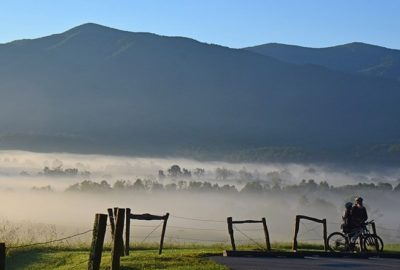 Biking in Cade's Cove at Great Smoky Mountains National Park
