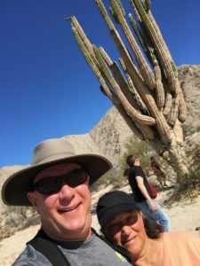 Cheryl & David near a giant cactus in the Valley of the Giants