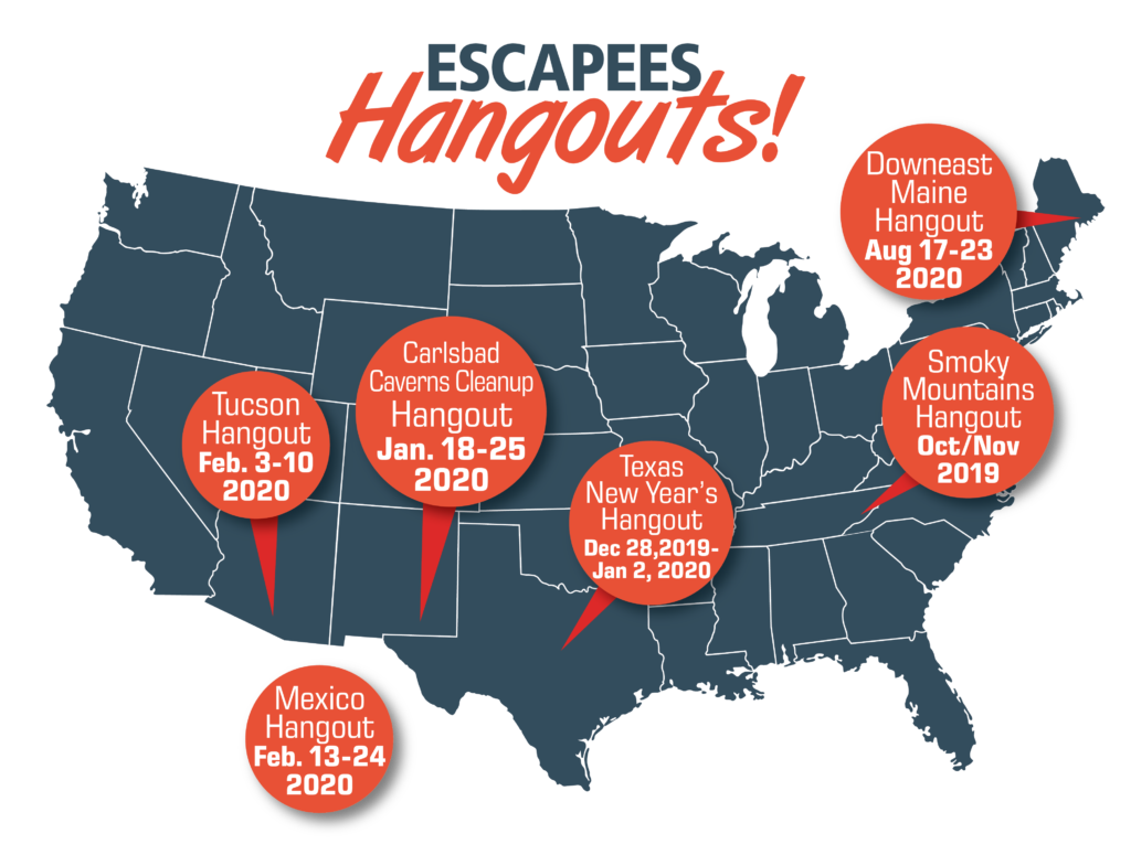 Map of upcoming Hangouts as of October 2019