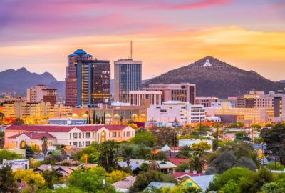 Downtown Tucson at sunset