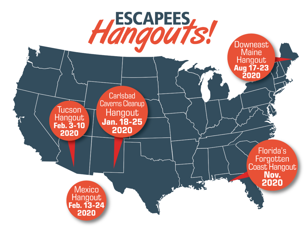 Map of upcoming Hangouts as of December 2019