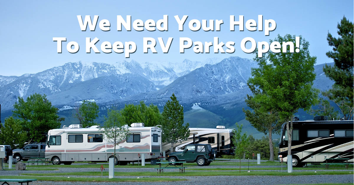 RV park with We Need Your Help layered on top