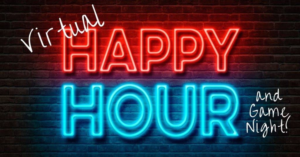 Neon Happy Hour on brick background