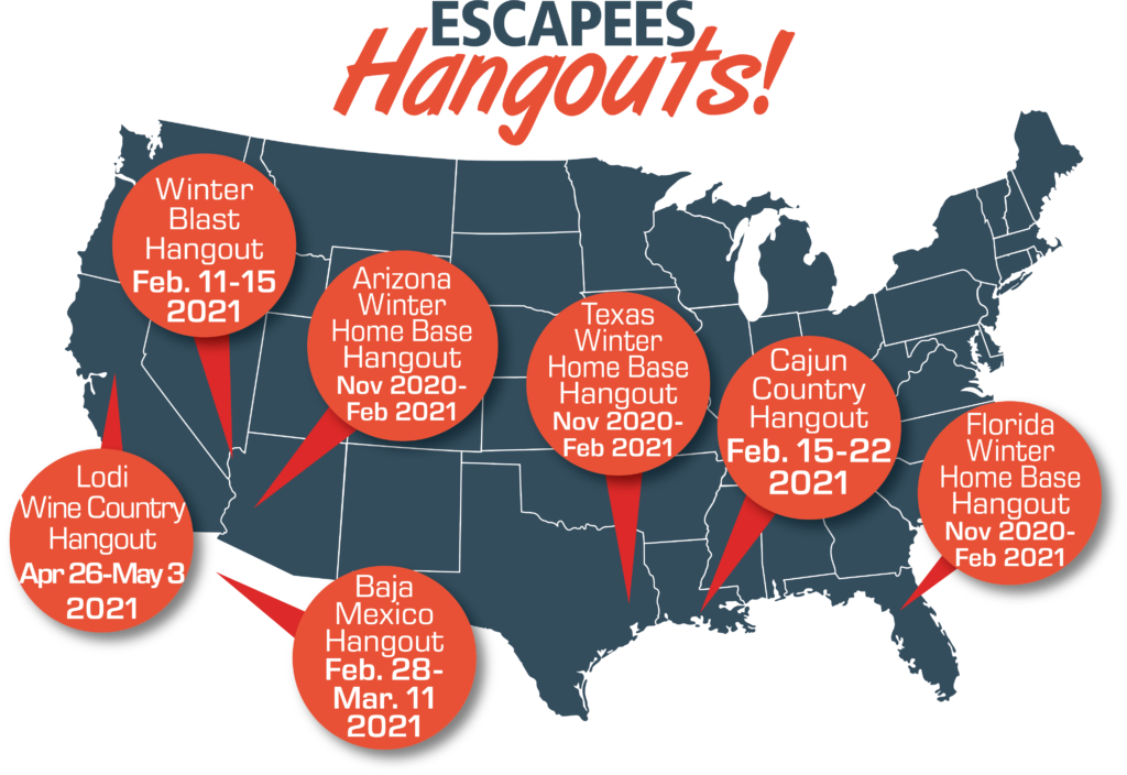 Map showing locations of upcoming Escapees Hangouts
