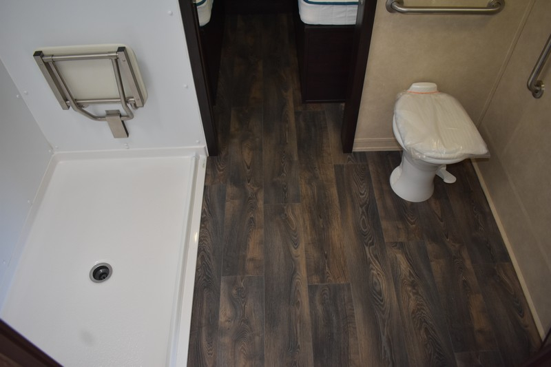 Handicap accessible shower and toilet in RV bathroom