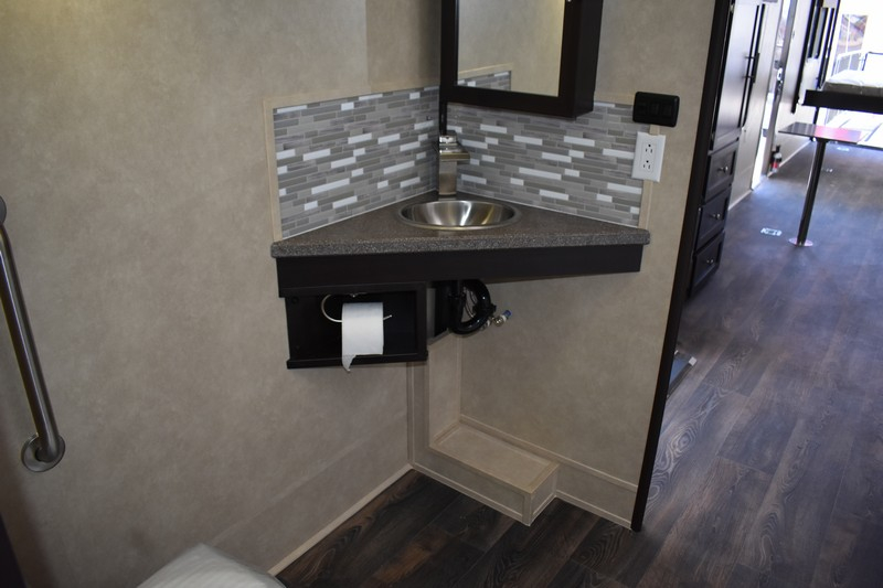 Disability-accessible sink in RV bathroom
