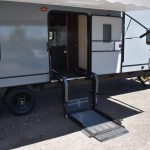 Wheelchair lift installed on exterior RV door