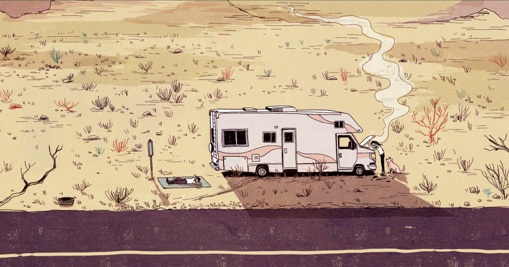 RV in the desert with person laying on ground napping nearby