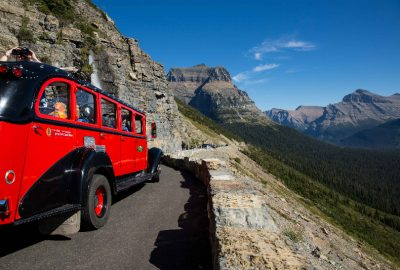 One of Glacier's historic Red Buses on Going-to-the-Sun Road
