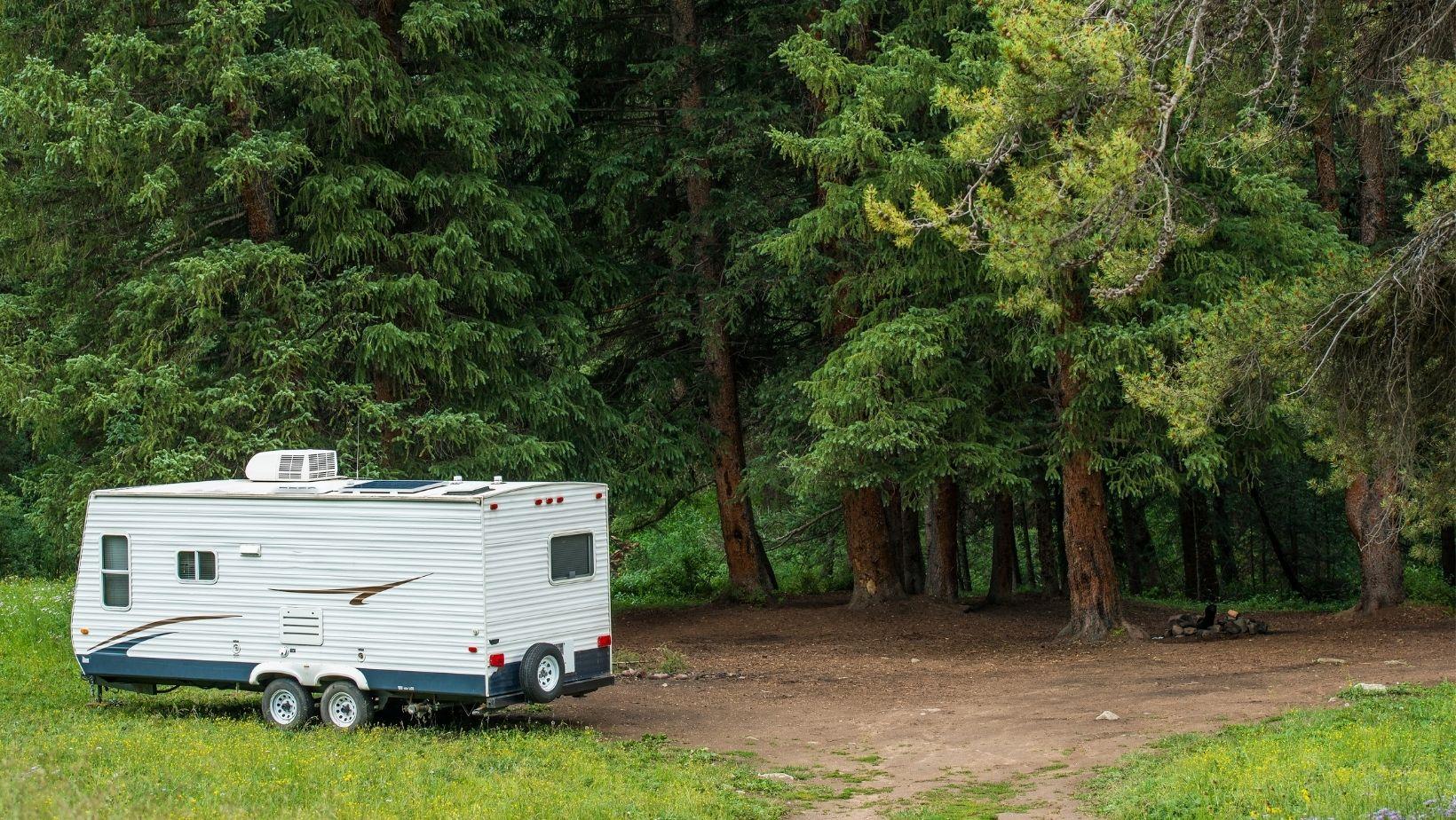 RV trailer boondocking near forest