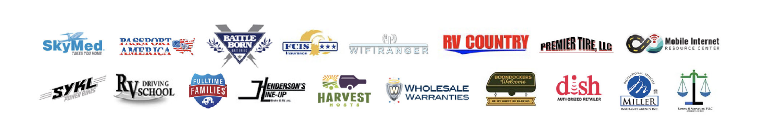 Variety of logos of companies offering Escapees members discounts, to help members save the most money with an Escapees RV Club membership